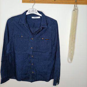 WRANGLER BNWOT Dark blue denim jeans blouse shirt